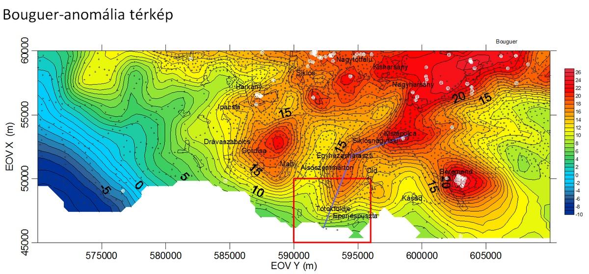 Bouguer-anomália térkép