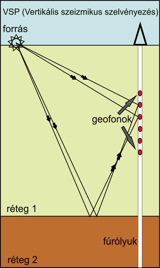 Vertikális szeizmikus szelvényezés - elvi ábra