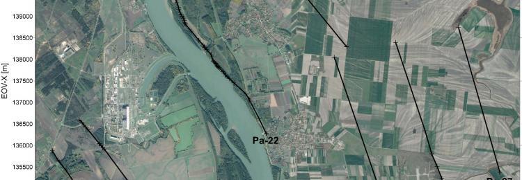 A Paks2 kutatási területen mért P-hullám szeizmikus szelvények elhelyezkedése